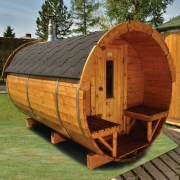 "Finnish sauna type ""barrel"" LS-1824 with 6 places and veranda."